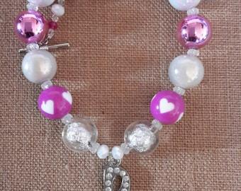 Purple/Fuchsia Music Note Bubble Gum Bead Necklace