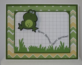 Hopping Frog Handmade Birthday Card
