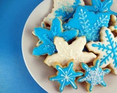 Snowflake Sugar Cookies with Royal Icing - 1 Dozen