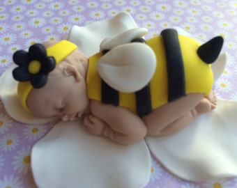 Bumble Bee Baby Girl Shower Cake Topper