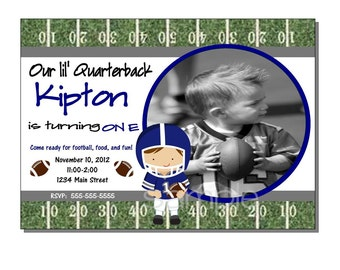 Football Invitation Birthday Party Blue and Gray - DIGITAL or PRINTED