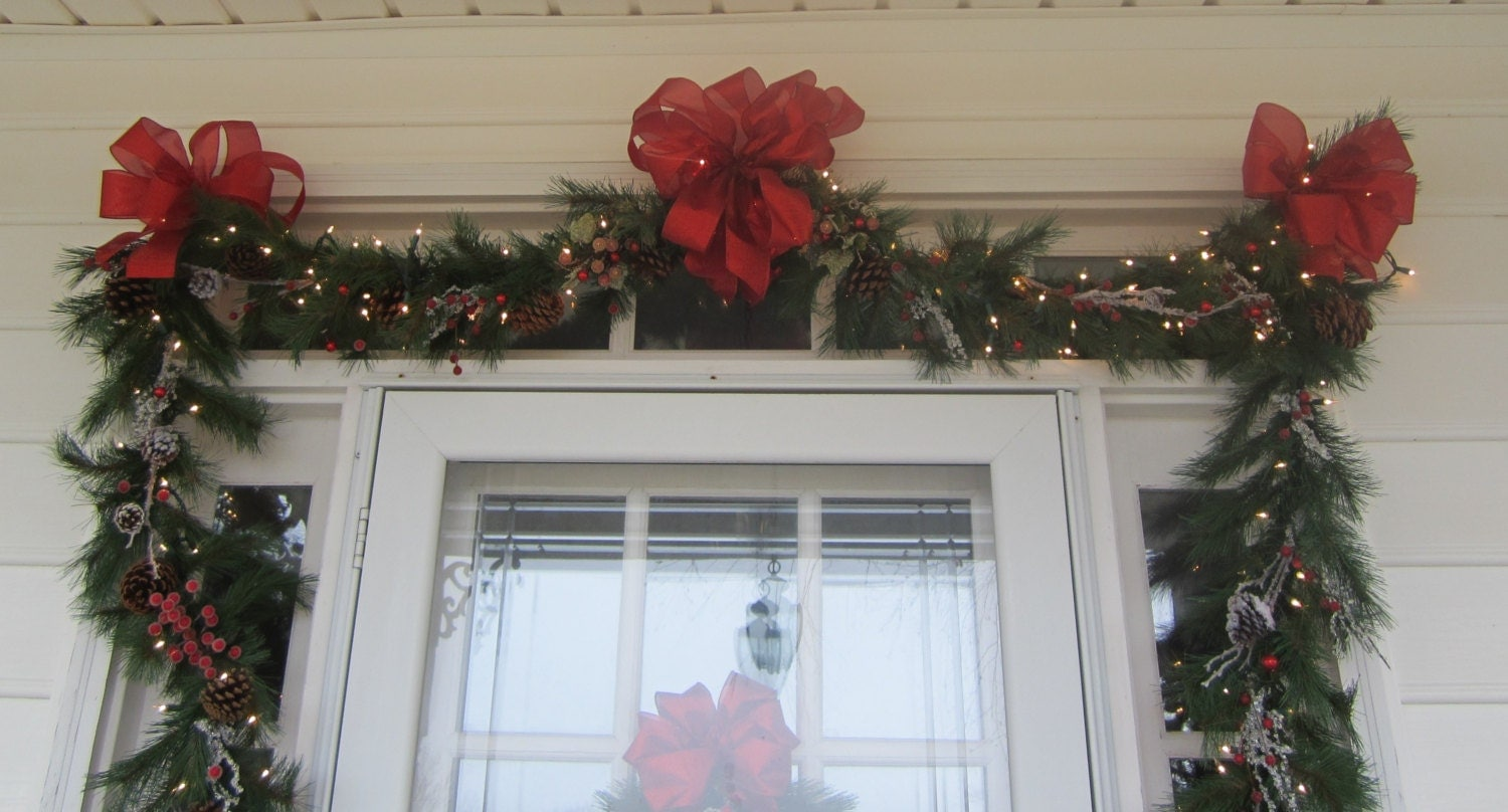 Christmas door swag garland set 24ft by giftsbywhatabeautifu for Christmas swags and garlands to make