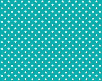 COTTON FABRIC Turquoise Stars - Makower UK 100% premium cotton