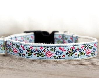 Blue hemp dog collar, Lovebird dog collar, Dog collar with birds