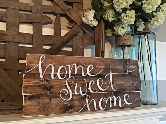 Home decor hand painted wood sign rustic decor for Rustic home decor and woodworking