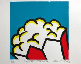 Buttered Popcorn Screenprint Art