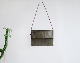 Large Foldover Bag - leather shoulder bag in dark olive green