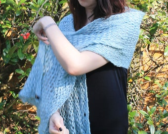 Pale blue and silver wrap shawl stole scarf, hand woven chunky yarn.