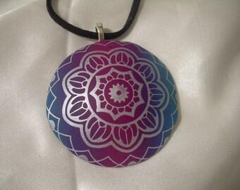 Purple Teal Pendant Polymer Clay Silkscreen