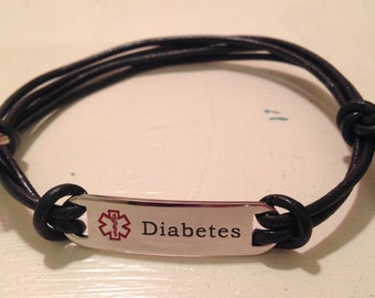 Handmade Leather Diabetes Medic Alert Bracelet
