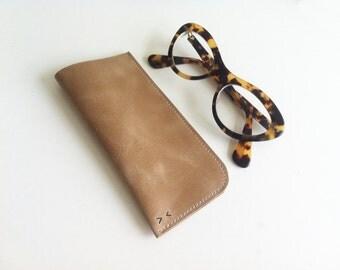 Leather soft sunglasses case, eyeglasses case, handmade, brown, black