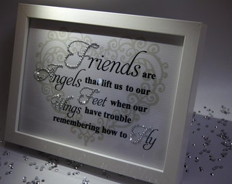 Friends Are Angels, Sparkle Word Art Pictures, Quotes, Sayings, Home Decor