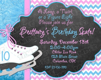 Ice Skate invitation ice skating birthday party printable invitations ANY COLOR UPrint customized card by greenmelonstudios