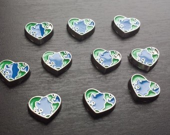 Earth Heart Floating Charm for Floating Lockets-Gift Idea