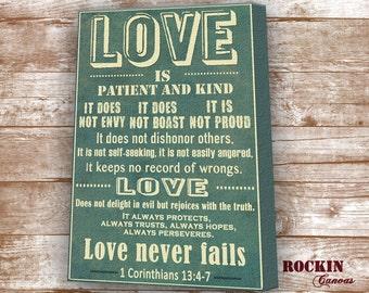 LOVE is Patient/ Bible Verse on Canvas, 1 Corinthians 13:4-8/ Christian Art/ CustomBible Verses