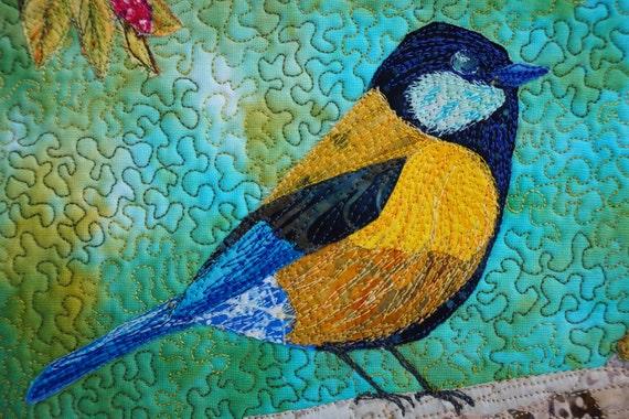 Small Bird Quilt Framed Landscape Quilt Wall Hanging Bird