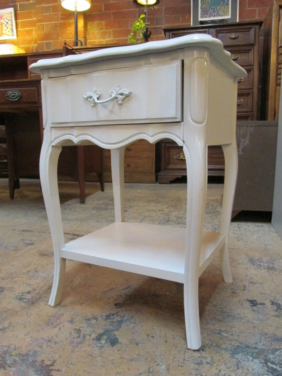 White dixie furniture french provincial nightstand end table for French nightstand bedside table