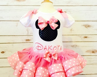 Minnie Mouse birthday outfit ribbon tutu and embroidered minnie shirt with bows pink polka dot tutu