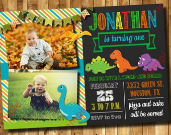 Dinosaur Birthday Invitation 1st, 2nd, 3rd Any Age Birthday - Dinosaur Invitation Digital File