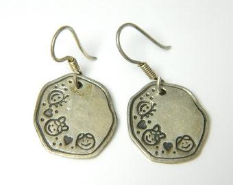 Vintage Sterling Silver  Rustic, Etched  Earrings 8.5g U3928