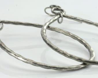 Vintage Sterling Silver  Long, Oval, Pattern  Earrings 4.6g U4111