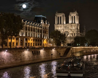 Notre Dame Cathedral Paris on the Seine River, Notre Dame by Night, Paris Nighttime lights and full moon, Notre Dame Along the Seine