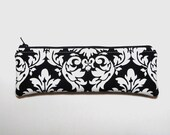 Black and White Pencil Case, Long Eo-friendly Zipper Pouch, Modern Gift Idea for Him or Her, Unique and Handmade Cosmetics Bag