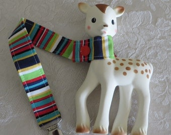 BatesCreates Sophie the Giraffe leash, tether, toy - 100% cotton fabric - topstitched (Navy Stripes)