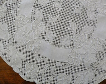 2 Vintage Embroidered and Net Lace Doilies - 11 Inches
