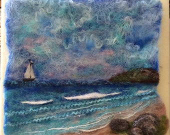 "Original, OOAK Fiber Art, Needle Felted Wool Painting, ""Return To Paradise"" Wall Art"