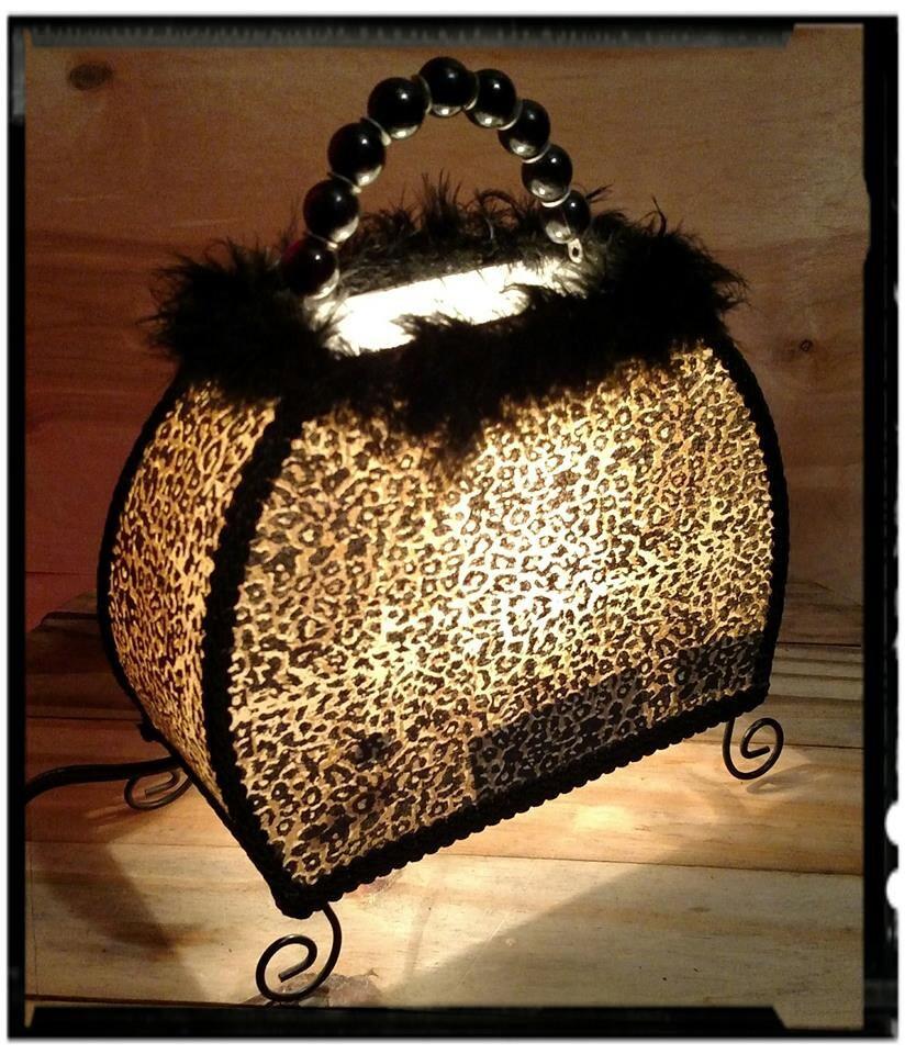 Collectible Purse Accent Lamp Purse Pocketbook Leopard Print