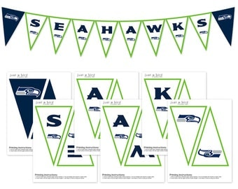 Seattle Seahawks Banner, Seahawks Superbowl Banner, Party printable, Seahawks printable banner, Superbowl party print - INSTANT DOWNLOAD
