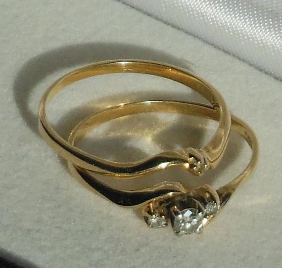 vintage bridal set 1990s size 7 womens 10 k gold diamonds 14