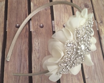 Rhinestone headband, ivory headband, flower girl headband, wedding headband, dressy headband, formal headband, baby headband, flower girl