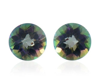 Mystic Northern Lights Topaz Round Cut Loose Gemstone Set of 2 1A Quality 6mm TGW 1.95 cts.
