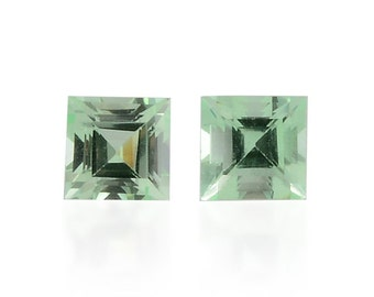 Green Mint Sapphire Synthetic Lab Created Set of 2 Loose Gemstones Square Cut 1A Quality 4mm TGW 0.80 cts.