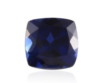 Blue Sapphire Synthetic Lab Created Loose Gemstone Cushion Cut 1A Quality 8mm TGW 2.80 cts.