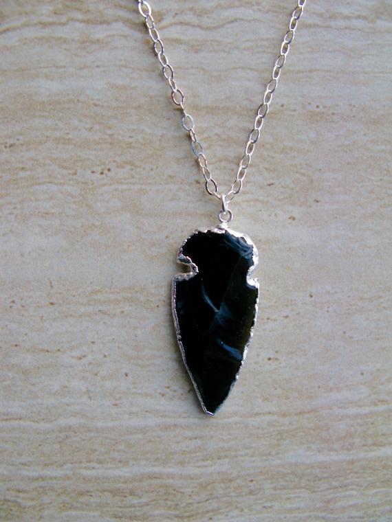 Arrowhead Black Obsidian Pendant Necklace Boho Necklace