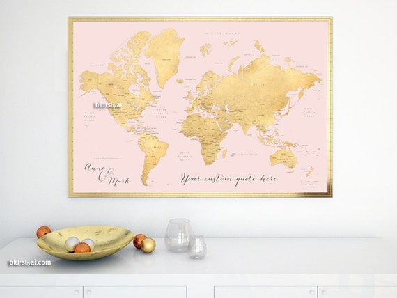Custom Quote PRINTABLE Gold World Map With Country Names US - Map of gold in us