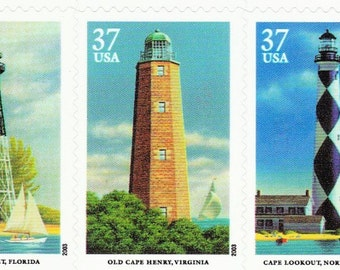 Qty of 10 Southeastern Lighthouses .37 cent unused 2003 vintage postage stamps, Excellent condition # 3787-3791