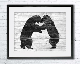 Polar Bear art illustration print, Bear painting, Wall art,Rustic Wood art,Animal print,Home Decor,Animal silhouette,Kitchen decor, Bear art