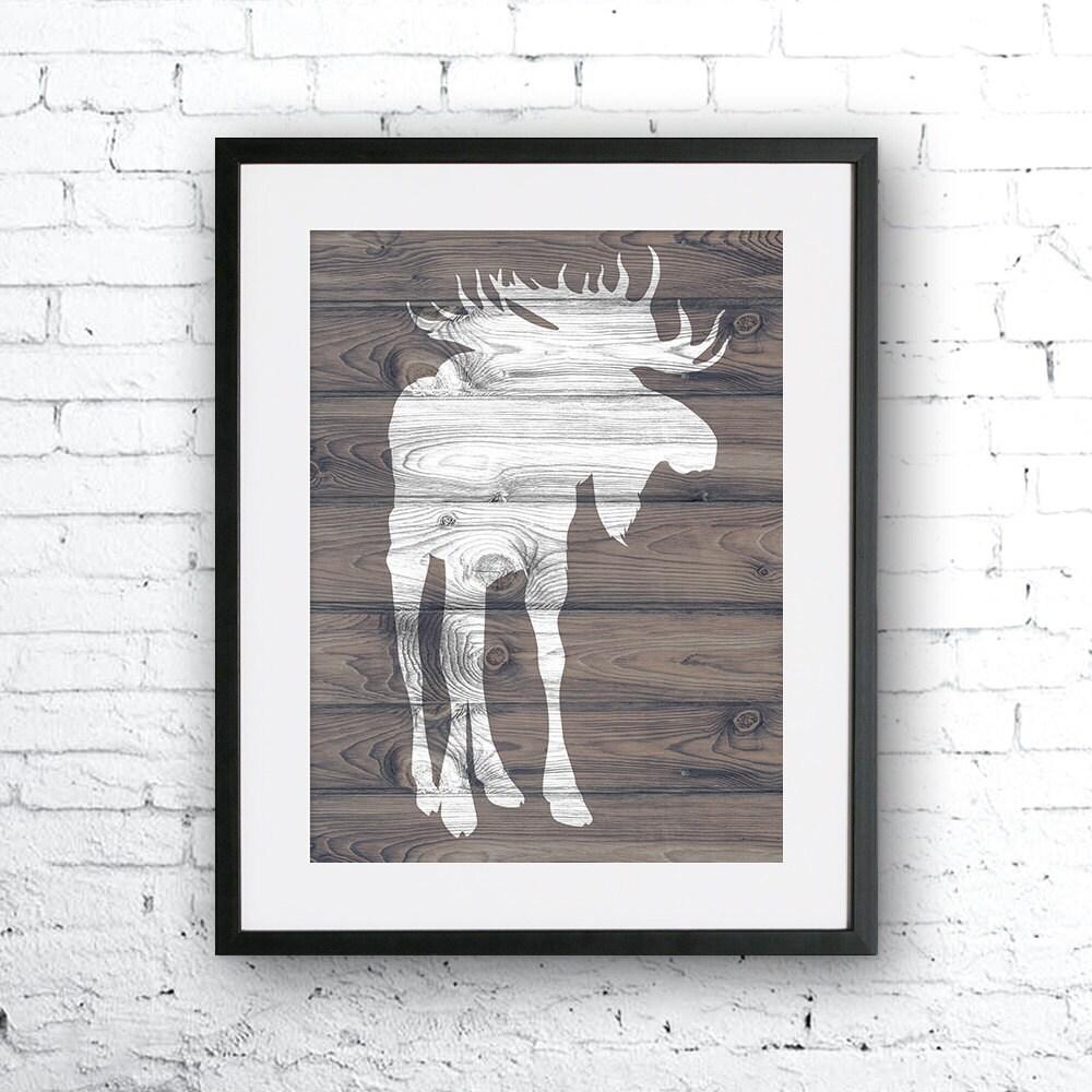 Nursery Wood Wall Decor : Moose art illustration wood texture wall decor nursery