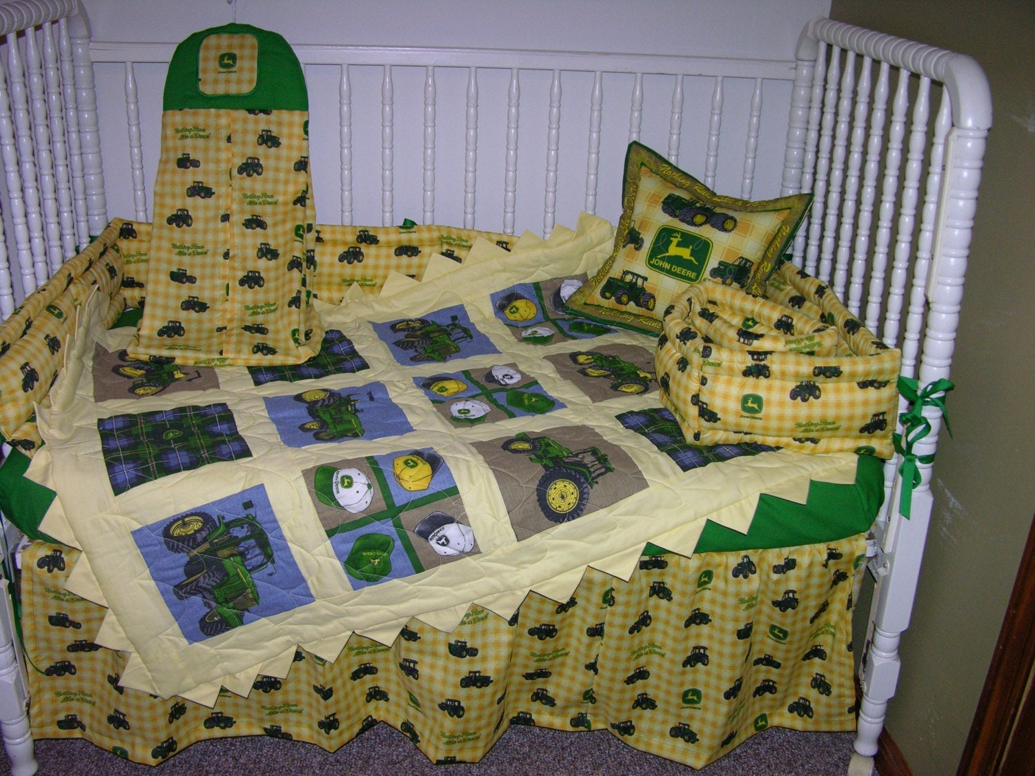 john deere yellow tractor crib bedding set by