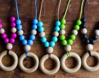 Chompy Large Silicone & Wood Teething Necklace