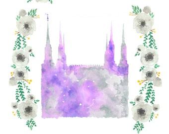 Washington DC LDS Temple floral watercolor