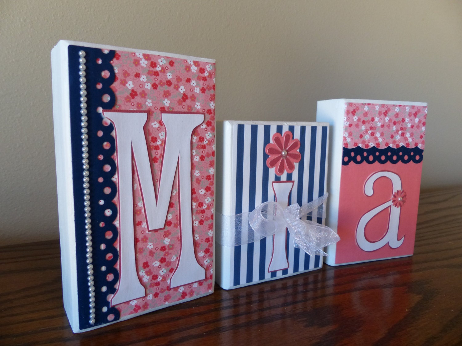 baby name blocks name block letters home decor pearls coral