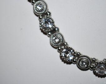 Silver Tone and Rhinestone Necklace