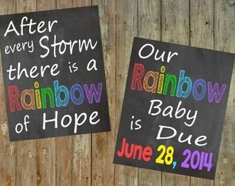 Rainbow Baby Pregnancy announcement / Rainbow baby / Rainbow pregnancy / Rainbow baby pregnancy chalkboard / Rainbow Baby Pregnancy