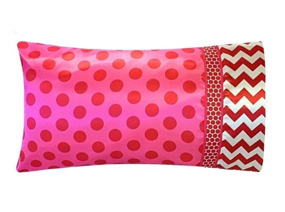 Diy Satin Pillowcase: Pink and Red Polka Dot Satin Pillowcase Red Chevron Pillow,