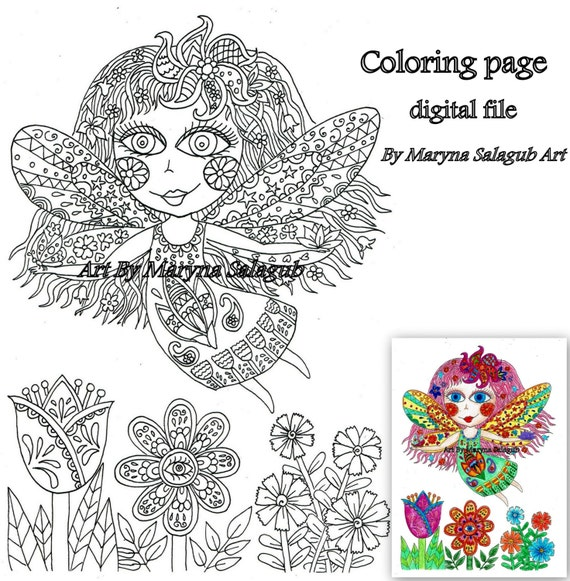 Flower fairy coloring page. Magical art Download print and